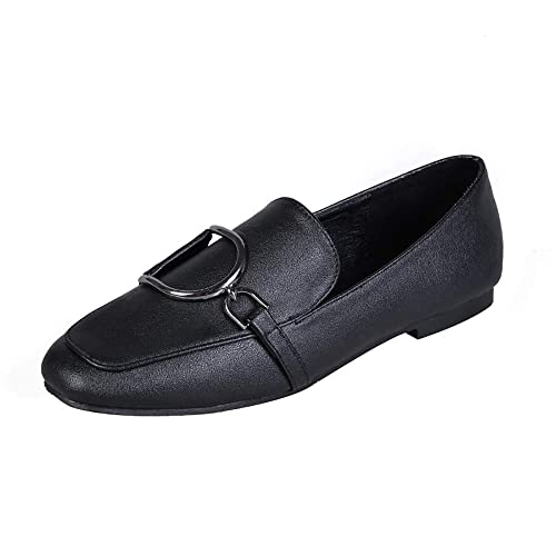 0a7d12ad2f06c Meeshine Women'Slip-On Loafers Buckle Fur Lined Slippers Flat Shoes