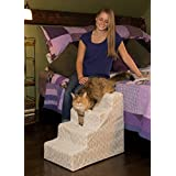 Pet Gear Soft Step IV Pet Stairs, 4-Step for Pets upto 50 Lb, Trellis Print Natural Beige