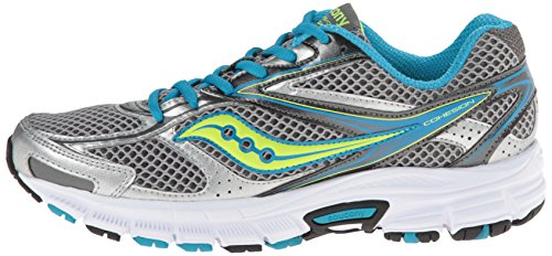 Saucony Women 's Cohesion 8Running Shoe, Grey/Blue/Citron 40