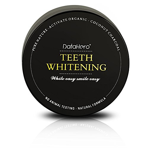 DATAHERO Organic Coconut Activated Charcoal Teeth Whitening Powder - Extra Strength Bright Smile
