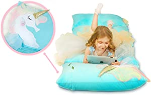 Anzitinlan Unicorn Kids Floor Pillows Bed Seat Cover, Floor Cushion, Fold Out Chair Bed, Pillow Chair Lounger, Pillow Beds, Kids Room Decor for Girls, Floor Lounger Cover ONLY