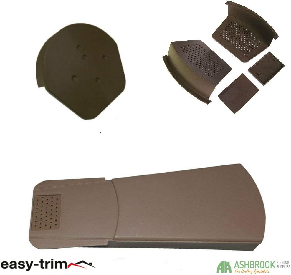 Easy Trim Brown Universal Dry Fix Roof Edge Protecting Verge 1 Gable System 30 Pack with Half Round Cap