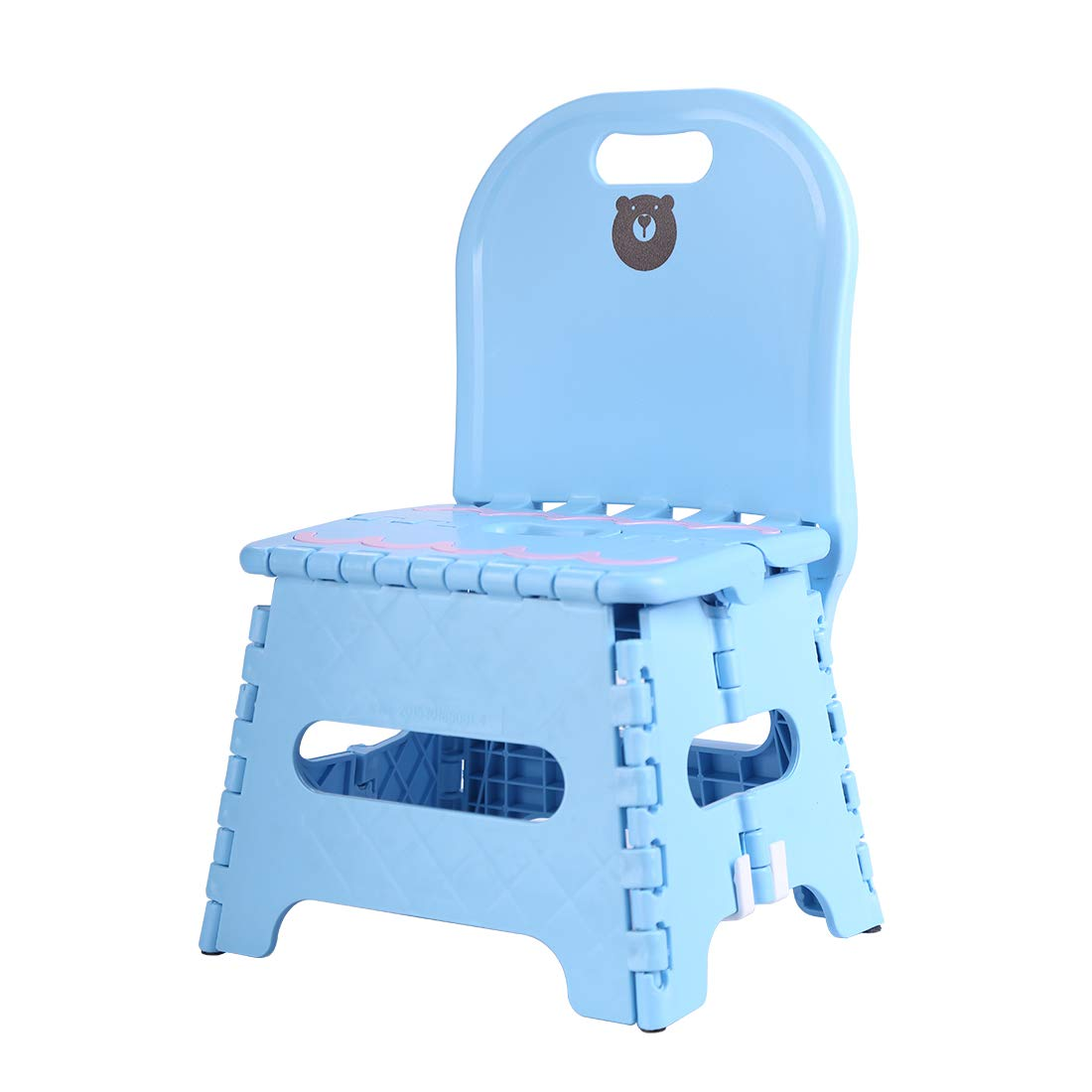 ZDZDZ Cute Travel Portable Non Slip Folding Step Stool with Backrest For Kids Adults Kitchen Garden Bathroom Heavy Duty Outdoor Foldable Stool Holds up to 250 LBS blue