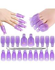 Makartt Gel Nail Polish Remover Clips Kit with 20 Pcs Resuable Finger and Toenail Acrylic Nail Polish Remover Wraps for Home DIY & Nail Salon, R-03