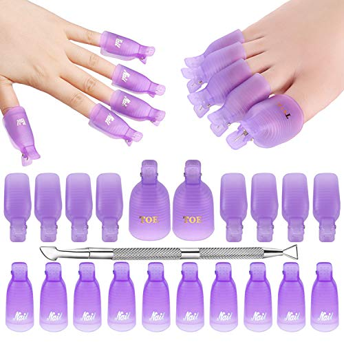 Makartt Gel Nail Polish Remover Clips Kit with 20 Pcs Resuable Finger and Toenail Acrylic Nail Polish Remover Wraps for Home DIY & Nail Salon, R-03