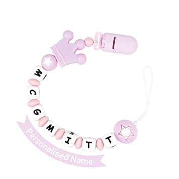 Personalised Silicone Crown Dummy Clip /& Teething Rattle Set Pink or Blue