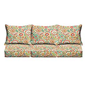 Mozaic Co. Coral and Orange Rio Floral Indoor/ Outdoor Corded Sofa Cushion Set