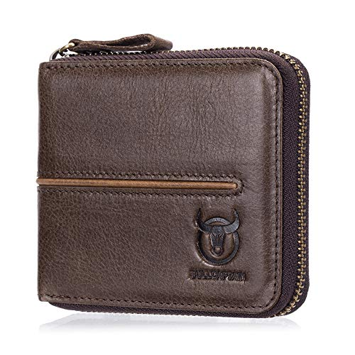 (BULL CAPTAIN New Design Cowhide Leather Men's Wallet Bifold Secure Zipper Wallet With 10 Card Slots and Divided Billfold QB-042 (Coffee))