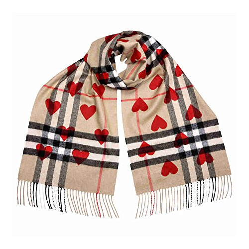 Burberry Classic Cashmere Scarf in Check and Hearts - Parade Red