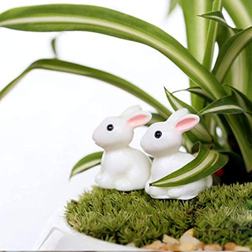 Figurines & Miniatures - 10pcs Set Cute White Bunnies Figurine Statue Landscape - Cottage Bunny U Style Easter Micro Resin Figurine Miniature Tree Resin White Artificial Rabbit Bunny Plastic Prim