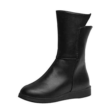 Stiefel Damen Leder Klassische Boots Mode Rutschfest Freizeitschuhe  Militärstiefel Frauen Gürtel Runde Kappe Stiefel Frauen Schuhe Kurze Stiefel  Street ... 23ed4e690e