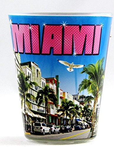 Miami Florida Blue Colorful Collage Shot Glass ctm Miami Glass