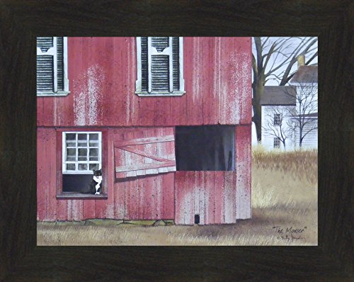 The Mouser by Billy Jacobs 16x20 Red Barn Farm Cat Country Primitive Folk Art Print Wall Décor Framed Picture (2