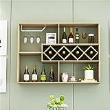 ALUS- Simple Home Restaurant Wall Wine Rack Living Room Wall Wine Cooler Hotel Bar Hanging Red Wine Rack Word Wine Grid