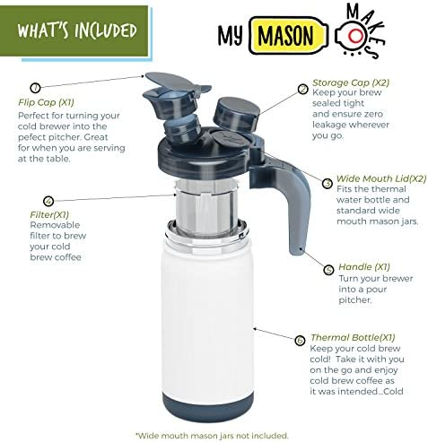 My Mason Makes – Cold Brew Coffee Maker Kit – Make Great Iced Coffee or Tea at Home – Professional Quality System with Insulated Jar to Keep Your Cold Brew Perfectly Cold