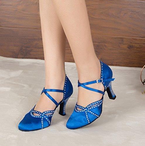 Crc Femmes Mode Bas Talon Satin Salle De Bal Latin Tango Salsa Chaussures De Danse Bleu