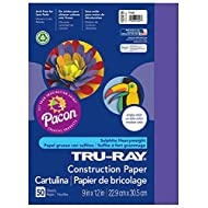Pacon Tru-Ray Construction Paper, 9-Inches by 12-Inches, 50-Count, Purple (103019)