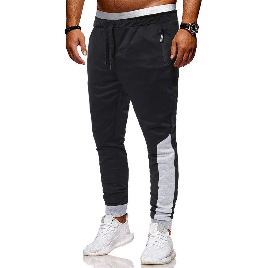VICCKI Fashion Mens Sport Joint Lashing Patchwork Loose Sweatpants Drawstring Pant