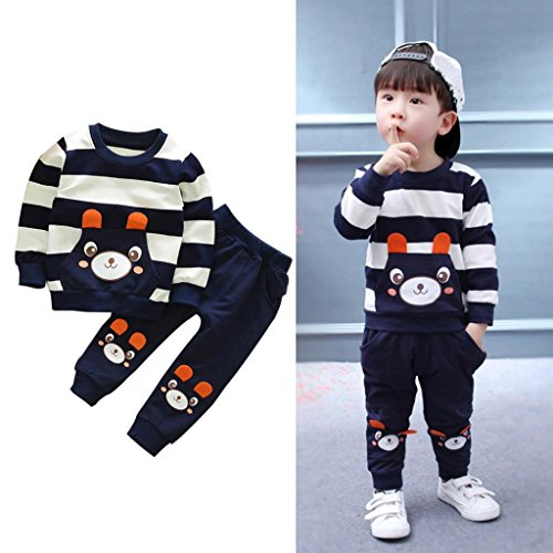 TIFENNY Autumn Winter Kids Clothes Set Cartoon Bear Striped Tops+Pants Outfits (2T, Navy) ()
