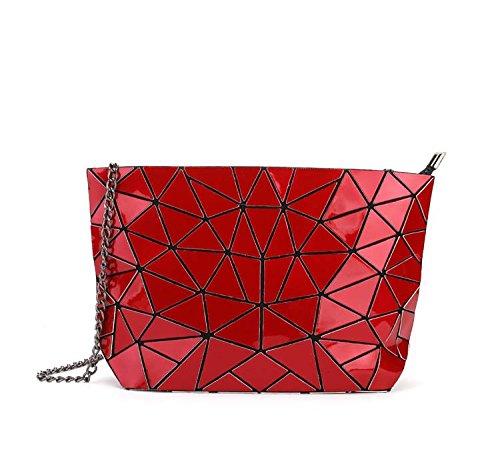 Meoaeo Cadena Geométrica Bolso Bolsa De Cuero De Moda Paquete Xiekua Plateado De Hombro Claret