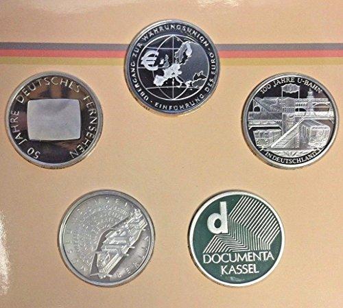 DE 2002 2002 Germany 10 Euro 5 Silver Proof Coins Set Spe Good