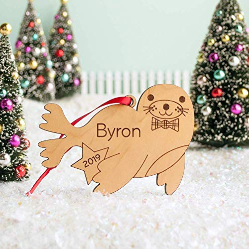 Personalized Wood Harbor Seal Babys First Christmas Ornament 2019 Handmade from Graphic Spaces - It's a cute world after all.