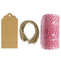 Wrapables 50 Scalloped Tag Gift Tags/Kraft Hang Tags with Free Cut Strings for Gifts, Crafts & Price Tags + Red and Hot Pink Cotton Baker's Twine 12ply 110 Yard