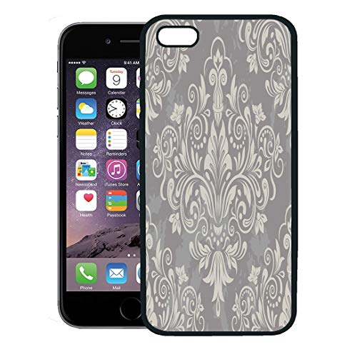 Semtomn Phone Case for iPhone 8 Plus case,Silver Floral Damask Gray Pattern Lace Swirl Vintage Baby iPhone 7 Plus case Cover,Black