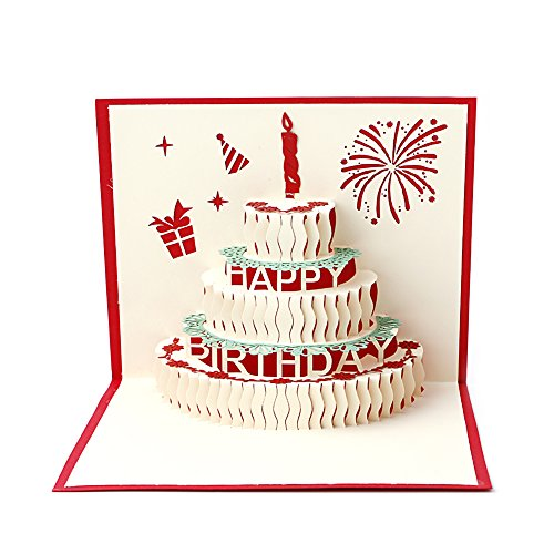 Arich 3D Pop UP Holiday Greeting Cards Valentine's Day Happy Birthday Gift--Cake