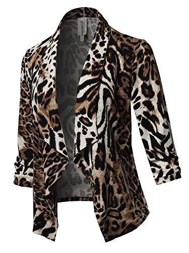 Stretch 3/4 Gathered Sleeve Open Blazer Jacket Animal Brown -