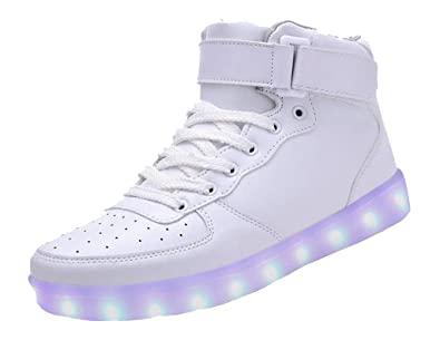KGOING High Top Led Light Up Shoes 11 Colors Flashing Rechargeable Sneakers  for Mens Womens white e1fcf5dad9