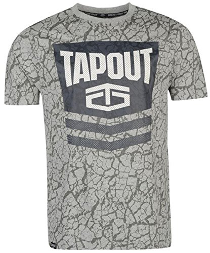 Mens Casual Training Printed Chevron T Shirt Crew Top (Medium, Grey Marl) (Tapout T Shirt)