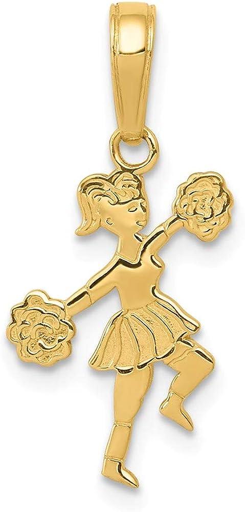 FB Jewels Solid 14K Yellow Gold Cheerleader Pom-Poms Pendant