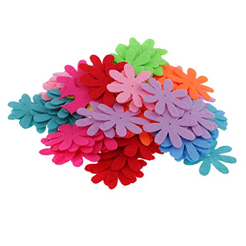 MagiDeal 100 Pieces Assorted Colors Felt Flowers Embellishment Fabric Flower & Brooch Back Non-woven Felt Patches for Scrapbooking Card Making DIY Craft Projects - Galsang flower
