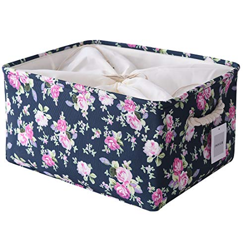 Inough Large Storage Baskets Collapsible Storage Bins Toys Clothes Crafts Organizer Fabric Laundry Baskets Storage Bin with Handle for Organizing Home/Nursery/Kitchen/Closet,(Large, Navy Floral)