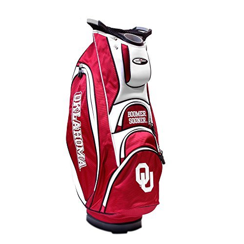 (Team Golf NCAA Oklahoma Sooners Victory Golf Cart Bag, 10-way Top with Integrated Dual Handle & External Putter Well, Cooler Pocket, Padded Strap, Umbrella Holder & Removable Rain Hood)