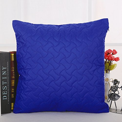 Deconovo Throw Pillow Case Microfiber Embossed Pillow Sham Home Decorative Hand Made Pillow Case Cushion Cover For Sofa 18x18 Inch Royal BLUE (Royal Couch Blue Pillows)