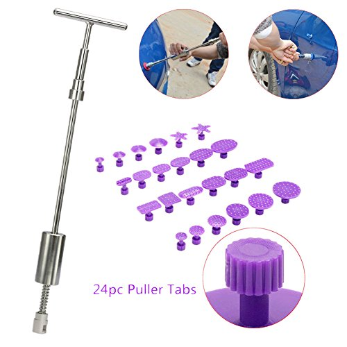 VTOLO Car Dent Repair Tools Dent Lifter Paintless Removal Kit PDR Puller Grip PRO Slide Hammer T-Bar Tool + 24pcs Glue Puller Tabs for Vehicle SUV Car Auto Body Hail Damage Remover