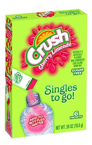 Drink Mix Cherry - Crush Singles To Go Powder Packets, Water Drink Mix, Cherry Limeade, Non-Carbonated, Sugar Free Sticks (12 Boxes with 6 Packets Each - 72 Total Servings)