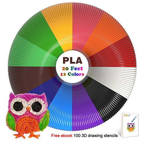 3D Pen Filament Refills Pla 1.75mm of 12 Colors 20 Feet Total 240 Linear Feet with 50 Stencils EBook for MYNT3D, DigiHero, Canbor, Tecboss, Soyan, TIPEYE, DigiHero, Hongdak, Dikale 3D Printing Pen