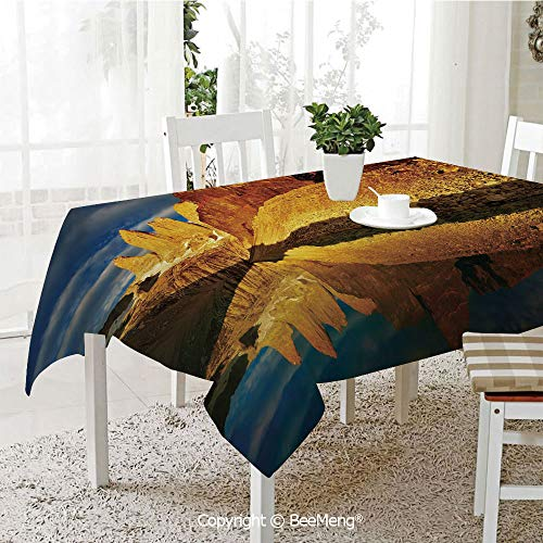 Large dustproof Waterproof Tablecloth,Family Table Decoration,Sunrise,Exquisite Cliffs by Lake Torres Del Paine National Park Patagonia Decorative,Light Coffee Cinnamon Blue,70 x 104 inches