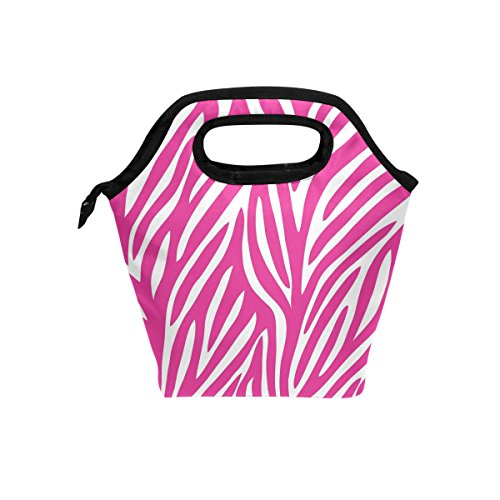 LORVIES Red Zebra Lunch Tote Bag Insulated Thermal Cooler Lunch Bag Waterproof Neoprene Lunch Handbags Tote with Zipper for Outdoor Travel Picnic -