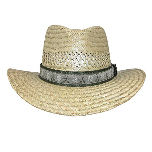 [Scala Classico Men's Rush Straw Safari Hat with Golf Club Pin and Hatband] (Straw Safari Hat)