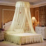 Princess Ceiling Mosquito Net Bed Canopy Easy Installation Dome Thickened Encryption Lace Side Net Tent Indoor Decorative,Yellow