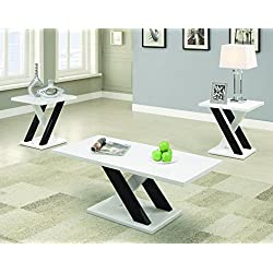 Coaster Contemporary White Three Piece Occasional Table Set