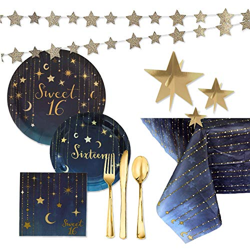 Centerpiece For Sweet Sixteen (Sweet 16 Party Supplies and Decorations Kit - Starry Night Themed Paper Plates, Napkins, Metallic Gold Forks, Knives, Spoons, Tablecover, Star Garland,)