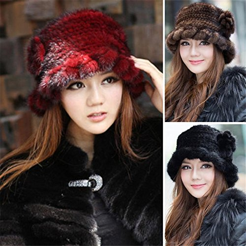 SPRINGWIND Real Mink Fur Hat Knitted Womens Winter Cap by SPRINGWIND (Image #5)