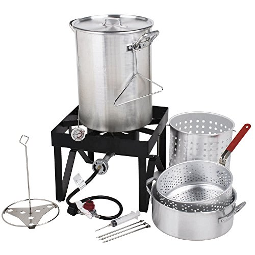 30 Qt. Deluxe Aluminum Turkey Fryer Kit / Steamer Kit by Deluxe Aluminum Turkey Fryer Kit / Steamer Kit