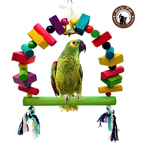 Mrli Pet Bird Swing Bridge Toys with Colorful Wooden Knots Block Hanging Bells for Parakeets Cockatiels Conures Macaws Parrots Love Birds Finches Climb Ladder Training