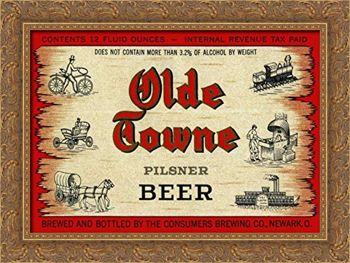 (Olde Towne Pilsner Beer 24x17 Gold Ornate Wood Framed Canvas Art by Vintage Booze)